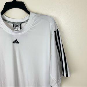 Adidas Climacool 3 Stripe White Crew Neck Shirt
